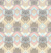 Cute owl seamless pattern with native elements — Stock Vector