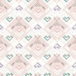 Abstract geometric seamless pattern. Aztec style pattern with hearts. Cute background for children or teenagers — Imagen vectorial