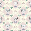 Seamless pattern with hipster polar bear and hearts — Imagen vectorial
