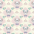 Seamless pattern with hipster polar bear and hearts - Stock Vector