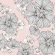 Seamless floral pattern. Background with flowers and leafs. — Imagens vectoriais em stock