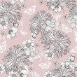 Seamless floral pattern. Background with flowers and butterflies — Imagens vectoriais em stock