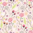 Seamless floral pattern. Background with flowers and leafs. — Stock Vector
