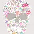 Skull from flowers — Vector de stock #19659095