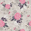 Seamless floral pattern. Background with flowers, leafs and berries — Imagen vectorial