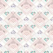 抽象的な幾何学的なシームレスなパターン。心を持つアズテック スタイルのパターン。子供やティーンエイ ジャーのためのかわいい背景 — ストックベクタ