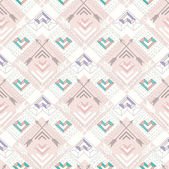 Abstract geometric seamless pattern. Aztec style pattern with hearts. Cute background for children or teenagers — Stock Vector