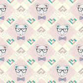 Seamless pattern with hipster polar bear and hearts — Stock Vector