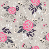 Seamless floral pattern. Background with flowers, leafs and berries — Stock Vector