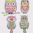 Set of cute colorful owls — Vecteur #25848741