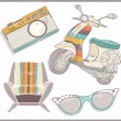 Retro elements set. Armchair, scooter,camera and sunglasses — Stock Vector