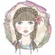 Pretty girl with flowers and butterfly element frame. — 图库矢量图片