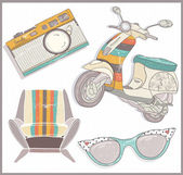 Retro elements set. Armchair, scooter,camera and sunglasses — Stockvector