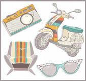 Retro elementów zestawu. fotel, skuter, aparat fotograficzny i okulary — Wektor stockowy