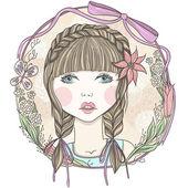 Mooi meisje met bloemen en vlinder element frame. — Stockvector