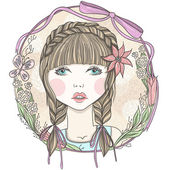 Pretty girl with flowers and butterfly element frame. — Stockvektor