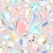 Stock Vector: Seamless pastel diamonds pattern. Background with colorful gemst