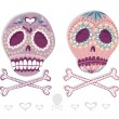 Mexican skull set. Colorful skulls with flower and heart ornamen — Image vectorielle