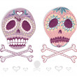Mexican skull set. Colorful skulls with flower and heart ornamen — Imagen vectorial