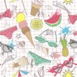 Cute summer abstract pattern. Seamless pattern with swimsuits, s — Stockvektor
