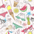 Cute summer abstract pattern. Seamless pattern with swimsuits, s — 图库矢量图片