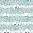 Seamless boat and sea pattern. Cute background for children or t — 图库矢量图片
