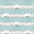 Seamless boat and sea pattern. Cute background for children or t — Stock vektor