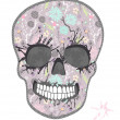 Cute skull with floral pattern. Skull from flowers — Imagen vectorial