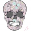 Cute skull with floral pattern. Skull from flowers — Stock Vector