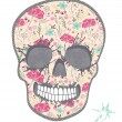 Cute skull with floral pattern. Skull from flowers. — Stock Vector