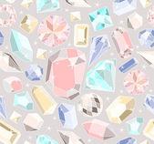 无缝的粉彩钻石图案。背景与多彩 gemst — 图库矢量图片