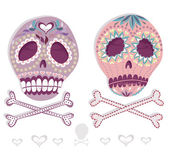 Mexican skull set. Colorful skulls with flower and heart ornamen — ストックベクタ