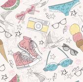 Patrón abstracto lindo verano. patrones sin fisuras con trajes de baño, s — Vector de stock