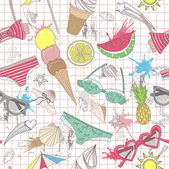 Cute summer abstract pattern. Seamless pattern with swimsuits, s — ストックベクタ