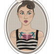 Cute rockabilly style fashion girl — Grafika wektorowa