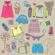 Children clothes and toys design  elements set — Stock Vector