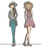 Young fashion girls illustration. Vector illustration. Backgroun — ストックベクタ