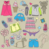Children clothes and toys design elements set — ストックベクタ
