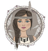 Cute native american girl and feathers frame. — Stock Vector