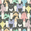 Stok Vektör: Seamless pattern with cute cats for children