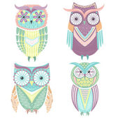 Set of cute colorful owls — Stock Vector