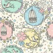 Seamless pattern with birdcages, flowers and birds. — Stock Vector