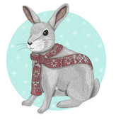 Cute rabbit with scarf winter background — Stock Vector