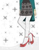 Cute winter fashion background. — Stock Vector