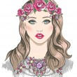 Young girl fashion illustration. Girl with flowers in her hair a — Vettoriali Stock
