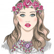 Young girl fashion illustration. Girl with flowers in her hair a — Imagens vectoriais em stock