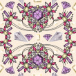 Seamless pastel jewelery necklace kaleidoscope pattern — 图库矢量图片