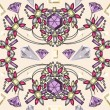 Seamless pastel jewelery necklace kaleidoscope pattern — Stockvectorbeeld