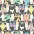 Seamless pattern with hipster cute cats for children — Imagen vectorial