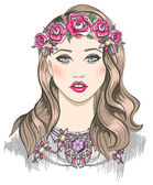 Young girl fashion illustration. Girl with flowers in her hair a — Διανυσματικό Αρχείο